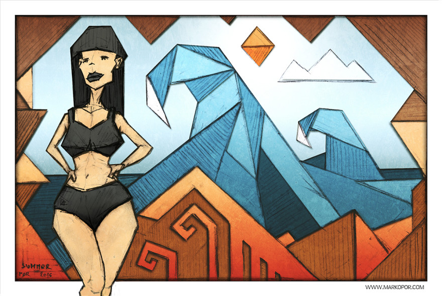 Summer - digital painting by Marko Por. Surf, sex, beach. Dark woman, epic waves, hot sun. Geometric grungy style, vivid colors. Orange, black and blue.